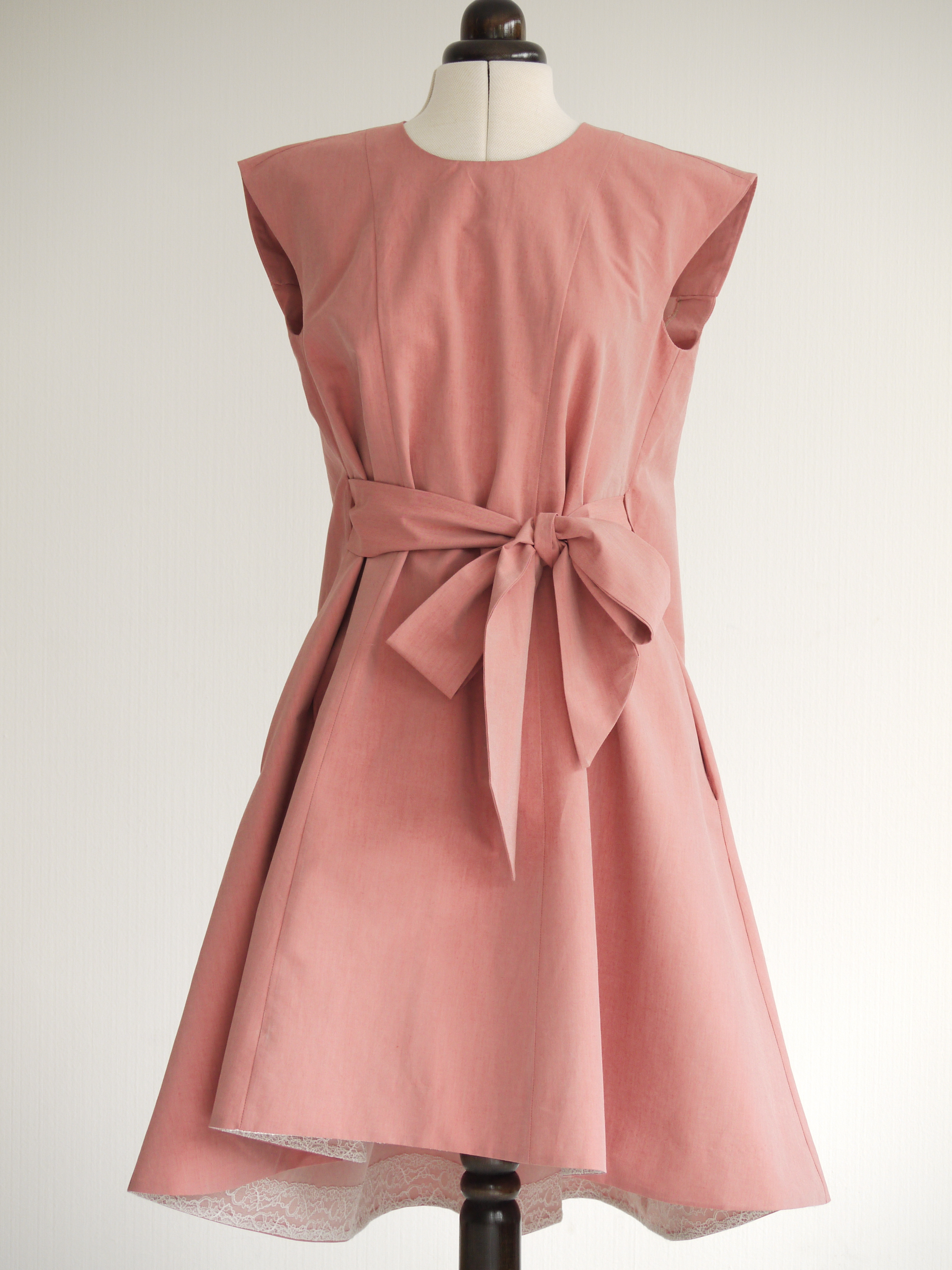 McCall's M6553 dress in pink cotton gabardine on my dress-form Beatrice