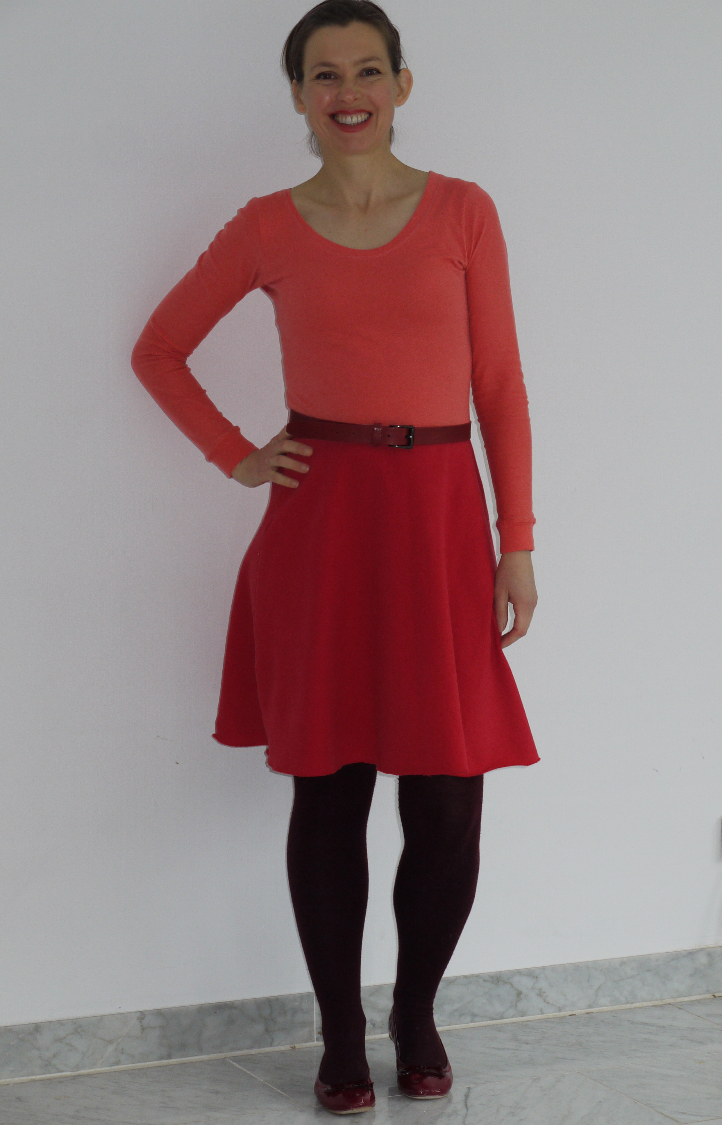 Coral organic single cotton jersey and red organic sweater knit