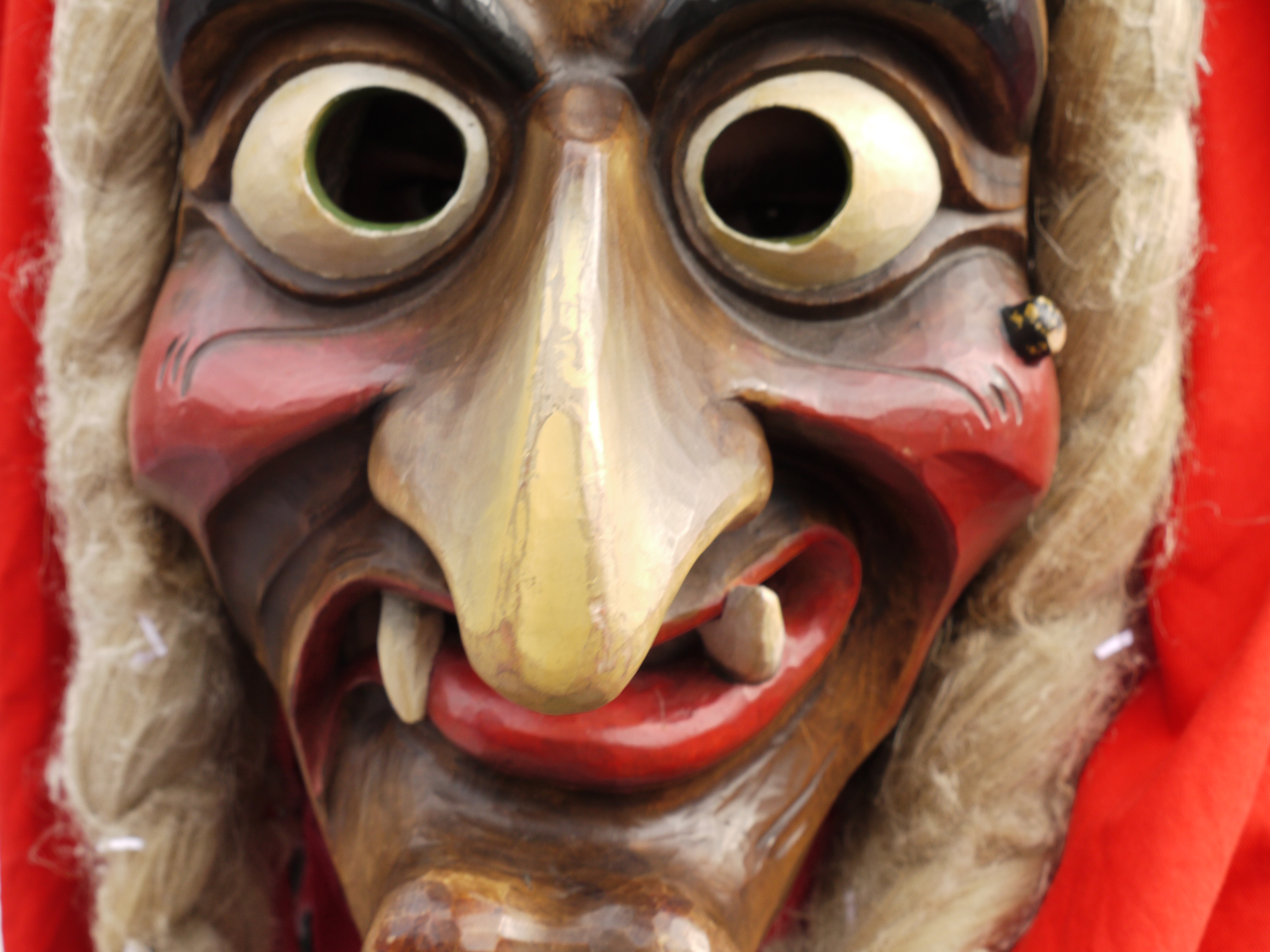 Hand carved and hand painted wooden German Carnival mask