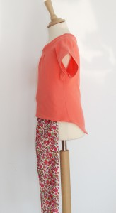 coral t-shirt and pants side view