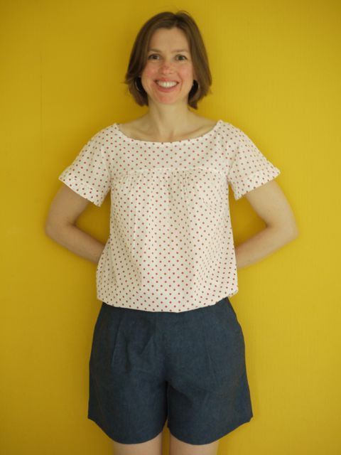 Make It Perfect Waterfall Blouse in organic cotton batiste and Burdastyle shorts in cotton/linen mix