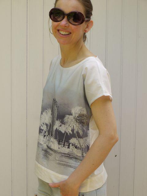 April Rhodes Staple Dress as top in cotton/silk mix.