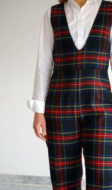 Simplicity pattern tartan jumpsuit mash-up.