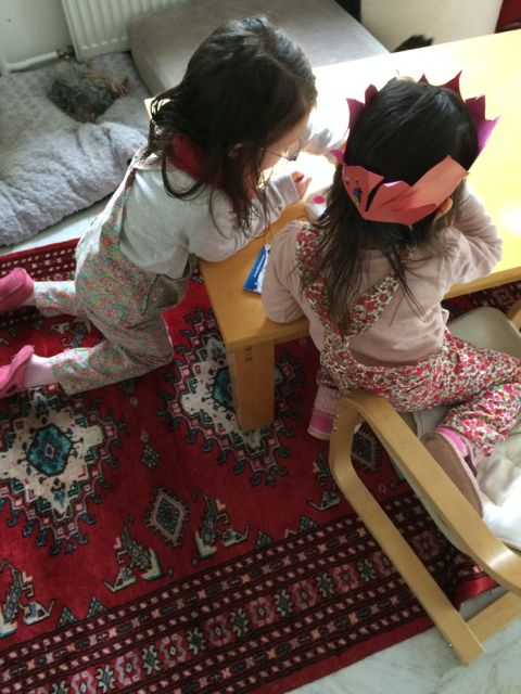 Turia dungarees pattern printed smaller for children.