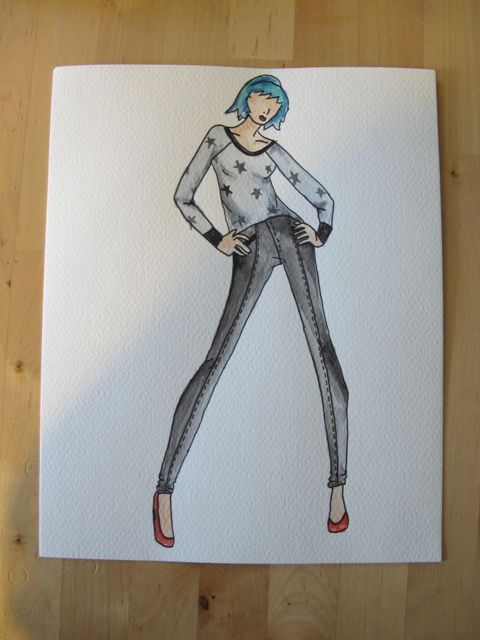 Lady in Grey - Original sketch by Lauren of Lladybird.com.