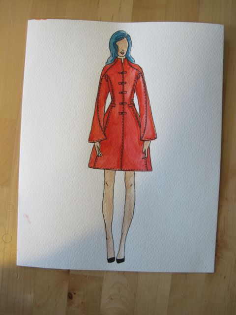 Lady in Red Coat - Original sketch by Lauren from Lladybird.com blog.