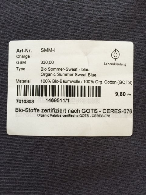 GOTS and CERES certified organic cotton
